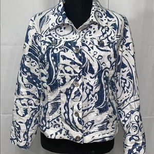 🔷 CHICO'S Linen Blue And White Jacket Petite 1 🔷